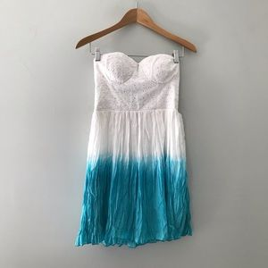 American Eagle turquoise ombré strapless dress Xs